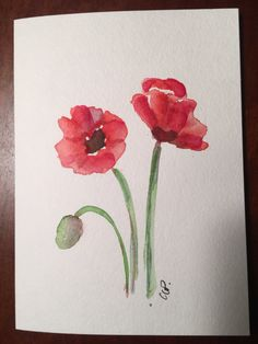 Red Poppies Watercolor Card / Hand Painted Original Watercolor Card