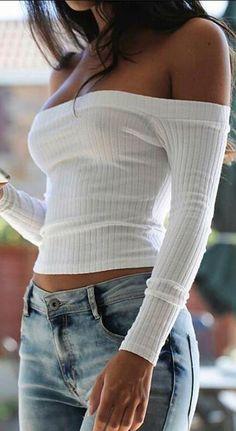 Off-Shoulder Long Sleeve Ribbed-Knit Slim Blouse