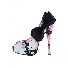 Buns 'N Roses Peep Toe Platform ❤ Black