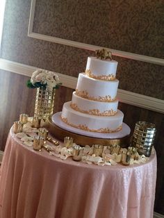 Gold & Pink Wedding Cake with Butter Cream Icing by Desserts by Design.
