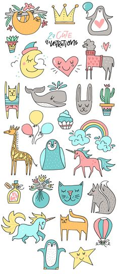 Nursery Art Creator - DIY pack by Favete Art on Art Drawings For Kids, Cute Drawings, Cute Illustration, Watercolor Illustration, Bullet Journal For Kids, Kawaii Doodles, Card Sentiments, Free Illustrations, Fabric Painting