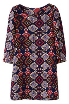 ROMWE | ROMWE Rhombus Pattern Print Crop Sleeves Shift Dress, The Latest Street Fashion