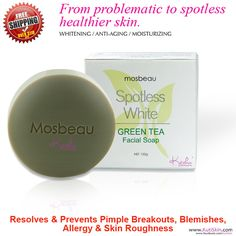 Mosbeau * Spotless Green Tea Facial Soap (100 g) Distributed in USA and Canada since 2012 by KutiSkin (http://www.KutiSkin.com)