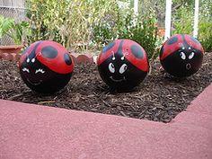 bowling ball garden decor