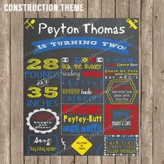 Construction Party Chalkboard Birthday Poster Digital File #constructionparty