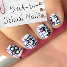 Nail Art Fun: Back-to-School Notebook Paper Doodle Nails