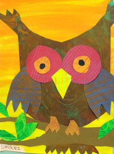 2nd grade owl collage-Inspired by Eric Carle