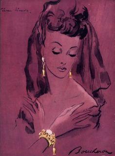 Boucheron Set of Jewels, 1944.           Illustrator: Pierre Simon