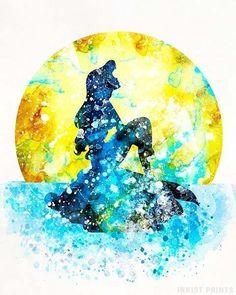 Ariel, The Little Mermaid Type 4 Print The Little Mermaid Poster, Little Mermaid Art, Watercolor Disney, Watercolor Walls, Watercolor Design, Watercolors, Mermaid Disney, Ariel Disney, Ariel Mermaid