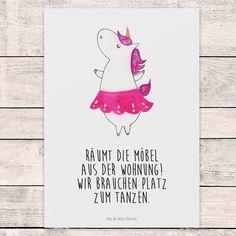 Postkarte Einhorn Ballerina Postkarte – Mr. & Mrs. Panda