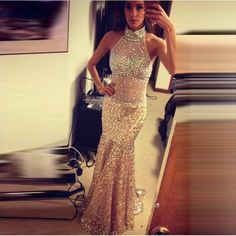 Gergeous Crystal and Beading Prom Dress,Mermaid Prom Dresses,High Neck Prom Dress,Long Evening Party Dresses by fancygirldress, $259.00 USD