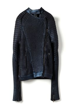 Metallic Printed Sweater Knit Motorcycle Jacket by Phillip Lim for Preorder on Moda Operandi Mode Renaissance, Dark Fashion, Winter Fashion, Apocalyptic Fashion, Knitwear Fashion, Look Chic, Phillip Lim, Menswear, Street Style