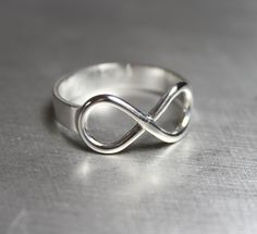 Infinity Ring, Engraved, Sterling, Silver, Knot, Symbol, Forever, Jewelry, via Etsy.