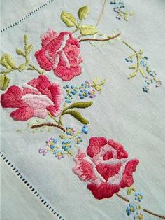 Vintage hand-embroidered Irish Linen for the table.