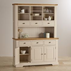 Camborne painted acacia large dresser with natural oak top. Soft, rich cream…