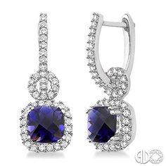 Cushion cut Iolite and diamond drop earrings. 14k white gold. Available in other stones as well.