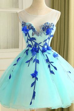 2017 Homecoming Dress Beautiful Dresses Hand-Made Flower Short Prom Dress Party Dress #promdressesshort #homecomingdresses #promdresses #partydresses