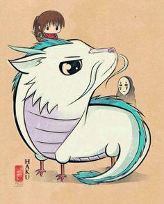 Haku, Chihiro, and No Face from Spirited Away.