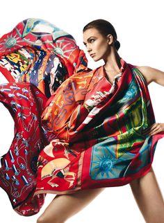 0f95fd1308e6 Beauty and Fashion Harper s Bazaar, Silk Scarves, Hermes Scarves, Printed  Scarves, David
