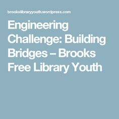 Engineering Challenge: Building Bridges – Brooks Free Library Youth