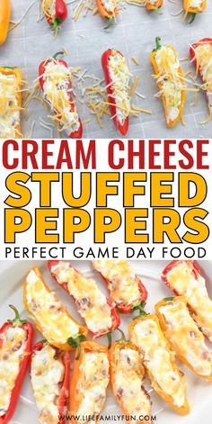 If you've been on the hunt for an appetizer that is certain to be a crowd pleaser, these Cream Cheese Stuffed Peppers with Bacon won't let you down. appetizers cream cheese Cream Cheese Stuffed Peppers With Bacon - Perfect GameDay Appetizer! Cream Cheese Stuffed Peppers, Buffalo Chicken Stuffed Peppers, Low Carb Stuffed Peppers, Cheesesteak Stuffed Peppers, Stuffed Mini Peppers, Cream Cheese Chicken, Stuffed Pepper Soup, Soup Appetizers, Appetizer Recipes