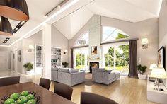 Zdjęcie projektu Willa parkowa WAH1682 Good House, Living Room Kitchen, Home Fashion, House Plans, Villa, New Homes, House Design, Ceiling Lights, How To Plan