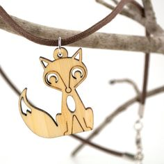 Fox Pendant Necklace Bamboo Fox Wooden Charm by graphicspaceswood, $18.00