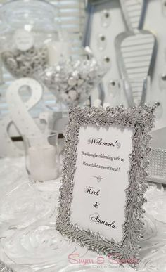 Welcome sign at a Glam Engagement Party!  See more party planning ideas at CatchMyParty.com!