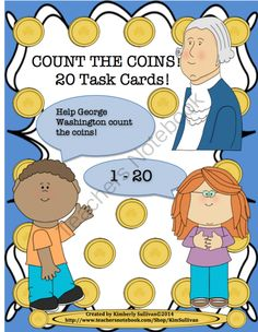 Counting Coins 20 Task Cards Numbers 1-20!  Early Finishers! from Kimberly Sullivan on TeachersNotebook.com -  (12 pages)  - This product will help your students review counting 1-20.  Great for math centers, early finishers, small group instruction, and individualized instruction!