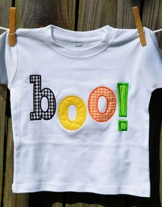 Personalized Halloween Boo! Applique Shirt or Onesie for Boy or Girl on Etsy, $25.00