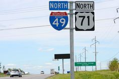 Missouri - interstate 49 and U. S. highway 71 sign.