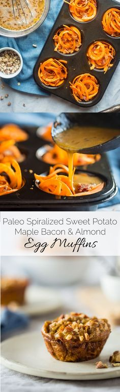 Paleo Egg Muffins with Maple Almond Sweet Potato Noodles and Bacon - A sweet and savory, portable breakfast or snack that is gluten free, protein packed, low carb and perfect for busy mornings! | Food Faith Fitness