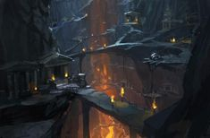 Artwork: dungeons mines by fantasy artist Joachim Barrum. See more artwork by this featured artist on the fantasy gallery website. Fantasy City, Fantasy Places, High Fantasy, Medieval Fantasy, Fantasy World, Landscape Concept, Fantasy Landscape, Environment Concept Art, Environment Design