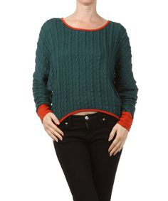 Take a look at this Green Cable Knit Hi-Low Sweater by Farinelli on #zulily today!