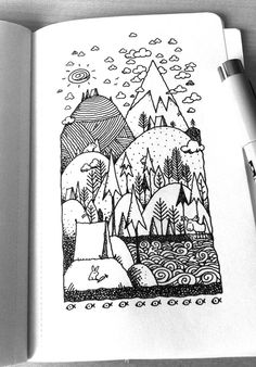 Camping sketchy stuff in 2019 doodle art, art sketchbook, drawings. Doodle Sketch, Doodle Drawings, Easy Drawings, Sketchbook Inspiration, Art Sketchbook, Tattoo Inspiration, Art And Illustration, Landscape Drawing Easy, Camping Drawing