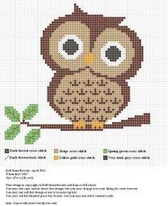 Darling free owl cross stitch pattern