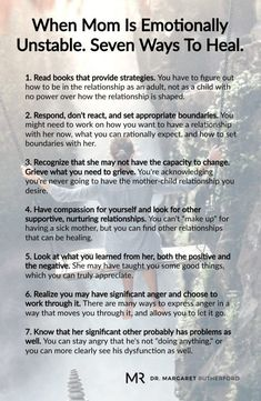 When Mom Is Emotionally Unstable. Seven Ways To Heal. Margaret Rutherford When Mom Is Emotionally Unstable. Seven Ways To Heal. Mental And Emotional Health, Emotional Abuse, Emotional Intelligence, Emotional Detachment, Trauma, Ptsd, Narcissistic Mother, Narcissistic Abuse, Inner Child Healing