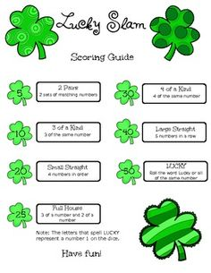 Lucky Slam Dice Game for St. Patrick's Day Exercise Activities, Small Group Activities, Senior Activities, Halloween Activities, Easter Activities, Spring Activities, Physical Activities, Outdoor Activities, Games For Teens