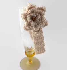 baby girl crochet headband | tan with tan flower | gift | 3 - 9 months