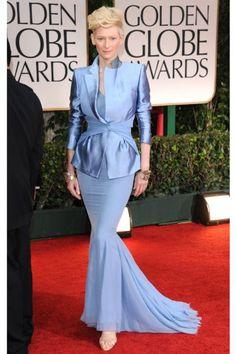 #MermaidWorld Tilda Swinton hit the Golden Globes red carpet in this periwinkle Haider Ackermann