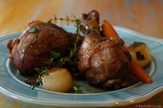 Julia Child's recipe for Coq Au Vin. A rustic French dish that, despite the multiple steps, is easy to make. Easy step-by-step photo instructions included.