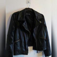 9e0a430f BLACK FAUX LEATHER JACKET• Black- 0 Black Faux Leather Jacket, Faux Leather  Jackets. Depop