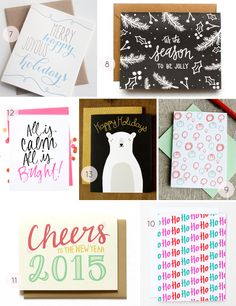2014 Holiday Card Round Up: http://ohsobeautifulpaper.com/2014/12/seasonal-stationery-2014-holiday-card-round-part-4/   7. Steel Petal Press; 8. Green Tie Studio; 9. Grey Moggie; 10. Happy Cactus; 11. Hennel Paper Co; 12. Paperfelt; 13. Gingiber   Click through for full links and resources!