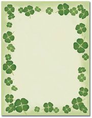 Four-Leaf Clover Letterhead  25 or 100 sheet packs Laser, Inkjet and Copier Compatible Just add your text & print
