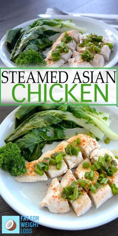 Asian Steamed Chicken with Greens - chicken breast, bok choy, shallots, ginger, sesame seed oil (would reduce) Ketogenic Recipes, Keto Recipes, Healthy Recipes, Asian Recipes, Healthy Food, Eating Healthy, Keto Foods, Fish Recipes, Cooker Recipes