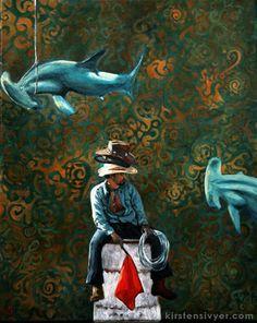 Kirsten Sivyer fine art. oil painting. portrait, figure, sharks, hammerhead, cowboy, surrealism. kirstensivyer.com Kirsteh Sivyer Fine Art. Perth, Western Australia Perth, Australian Artists, Hair Care Tips, Urban Landscape, Western Australia, Figure Painting, Sharks, Art Oil, Surrealism