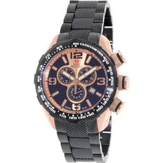 This Swiss Precimax timepiece for men features a sleek black color with rose gold hands and markers. With Swiss chronograph movement, the piece has several effective subdials as well as the date in an offset angle display.