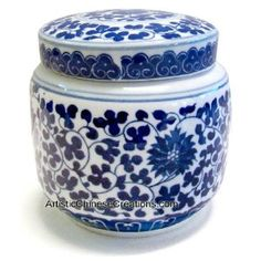 Chinese Products / Chinese Home Decor / Chinese Porcelain & Pottery: Chinese Porcelain Jar / Tea Canister - Wealth Flowers