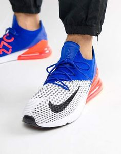 Shop Nike Air Max 270 Flyknit Trainers In White at ASOS. Blue Sneakers, Sneakers Nike, Nike Air Max, Flyknit Trainer, Asos, Nike Trainers, Air Max 270, Beautiful Day, Nike Free