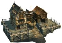 This must be built on the coast, it lets you build large trading ships and large warships. Fantasy City, Fantasy House, Fantasy Places, Fantasy World, Medieval Houses, Medieval Town, Medieval Fantasy, Building Concept, Building Design